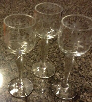 Beautiful Delicate Etched Stemmed Cordial Jigger Shot Glasses Set Of 3 @ Look@