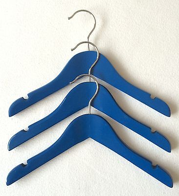 NEW WOODEN BABY BOYS BLUE CHILDRENS NURSERY CLOTHES HANGERS x 3
