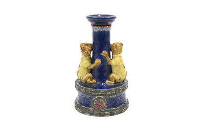 Vintage Style Porcelain Ceramic Blue Monkey Figurine Candle Stick Holder 8""