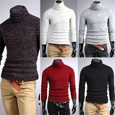 Men Slim Cotton Long Sleeve Turtle Polo Neck Turtleneck Sweater Stretch Shirts Q