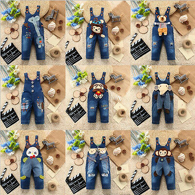 Lovely Baby Kids Unisex Animal Cartoon Bib Romper Jeans Denim Jumpsuit Pants