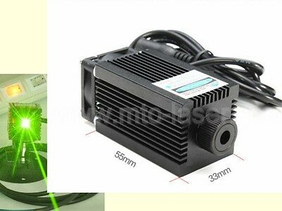 Focusable DC 12V 532nm 100mW Green semiconductor laser Module with fan cooling