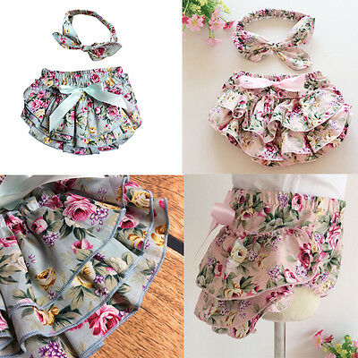 1kit Baby Girl Outfits Clothes Rose Flower Bloomer Diaper Cover Shorts New