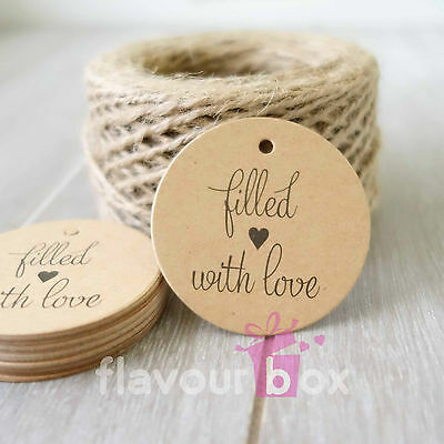 24x FILLED WITH LOVE Kraft Thank You Gift Tags Wedding Favour Baby Shower