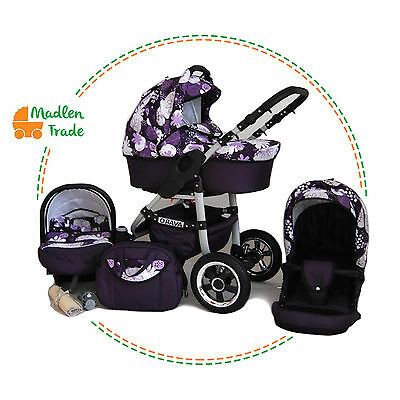 Baby Pram Pushchair Buggy Stroller 3in1 Avaro Optional Car Seat Travel Sysytem