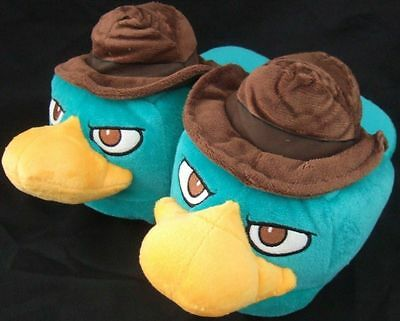 NWT Cute Adult Sm 5-6 Phineas & Ferb Agent Perry Character Plush Slippers Disney