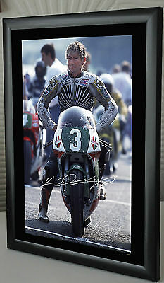 Joey Dunlop Isle of Man TT Motor Cycle Framed Canvas Print Signed