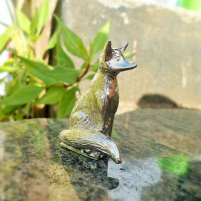 Sitting Fox Collectable cast in Pewter. (92% Tin Content, made in Cornwall)