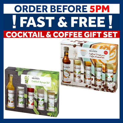 Monin Syrup Gift Set 5x50ml Bottles with recipes & Stencils Coffee Christmas
