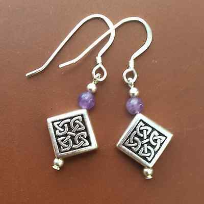 Amethyst celtic knotwork drop earring.Sterling silver wires.Irish scottish desig