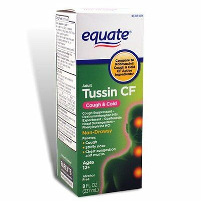 Equate Adult Tussin CF Non Drowsy Cough & Cold Suppressant 8 oz