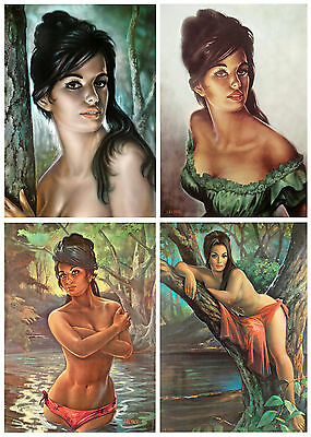 J H Lynch Set of 4 Prints Tretchikoff Era - Tina Nymph Woodland - Sizes A4 A3