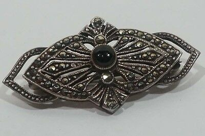C670 Vintage Sterling Ladies Art Deco Marcasites Brooch Onyx Cabochon Center