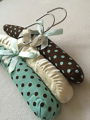 New Padded Turquoise And Chocolate Polka Dot Baby Childrens Nursery Hangers X 3