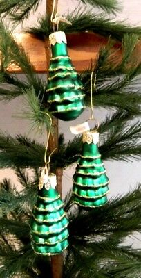NEW Mold Blown Glass-Green Christmas Tree w/ Glitter Ornament- Craft -POLAND