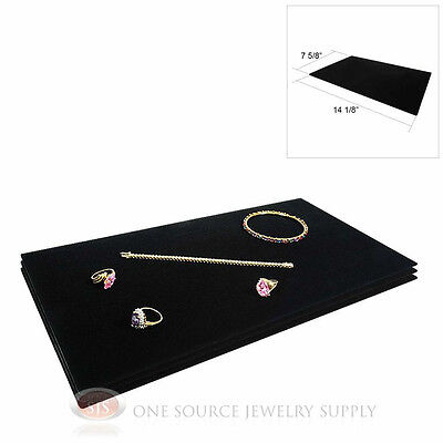 (3) Black Plush Soft Velvet Jewelry Display Counter Display Pads Tray Liners