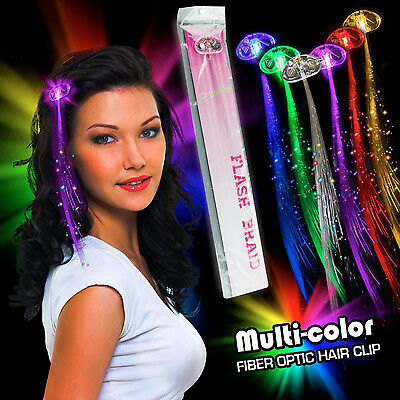 5 Pack LED Glowing Fiber Optic Hair Extensions 5-Color Flash Barrette Clip Braid