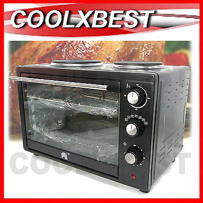 NEW 35L FAMILY CONVECTION OVEN ROTISSERIE w TWIN HOTPLATE TIMER BENCHTOP STOVE