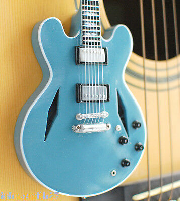 Miniature Guitar Dave Grohl Foo Fighter Blue Semi Hollow Body