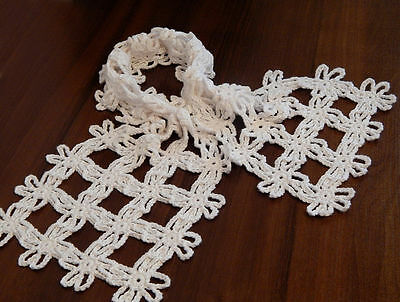 Crocheted scarf with floral motifs  Handmade
