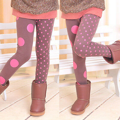 Children Kids Girls Slim Stretch Leggings Pants Winter Wool Polka Dots Trousers