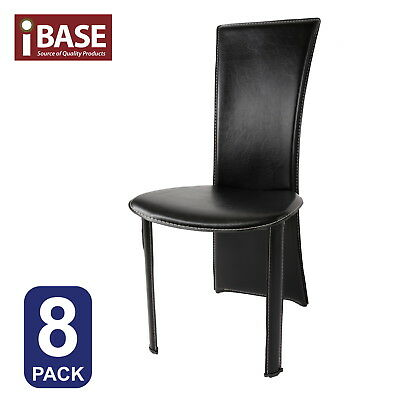 8X Dining High Back Chair Pvc Coated Kitchen Living Room Steel Frame Black