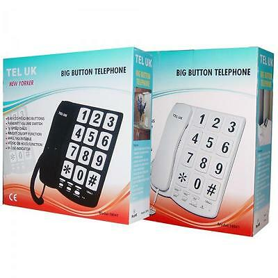 TEL-UK New Yorker 18041 Corded Home Phone Wall Mountable Big Buttons New White
