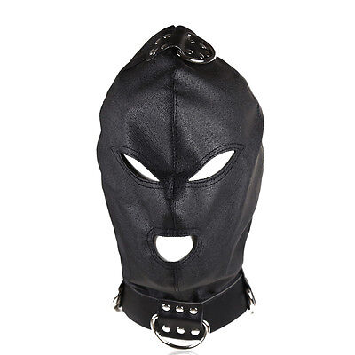 PU Leather Eyes & Mouth Open Gimp Mask Hood W Rope Attachment headgear Restraint
