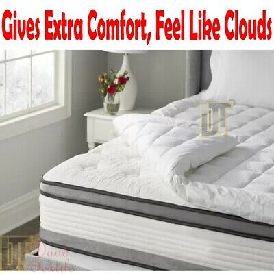Duck Feather & Down ,Goose Feather & Down Mattress Topper Cover White All Sizes