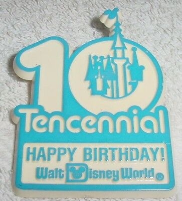 "Rare Disney Anniversary Button * Happy 10th Birthday - 1981 * 2"" Wide"
