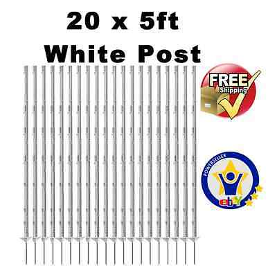 "20 X WHITE 5FT POLY POSTS - 156cm Tall Electric Fence 4ft 6"" Fencing Stakes tape"
