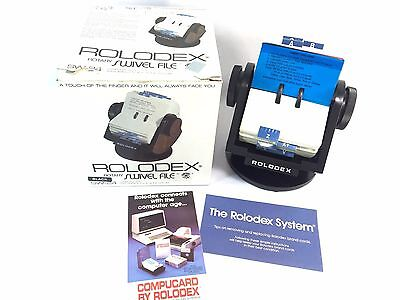 """Rolodex New Vintage Black Rotary Swivel File Holder SW-24 w/ 500 2.25x4"""" cards"""