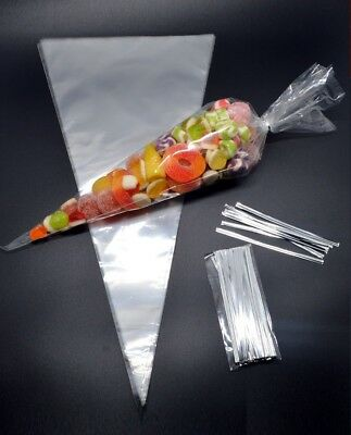 CLEAR Cellophane Cone Bags - Sweets Gifts Party Bags Favours FREE TWIST TIES