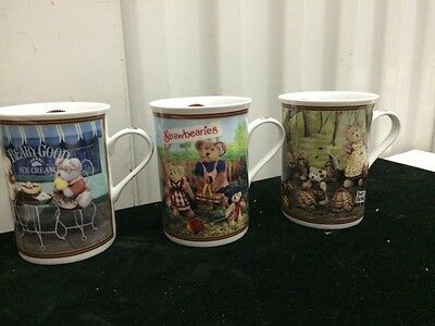 Lot Of 3 Boyds Bears Collector Mugs THE DANBURY MINT DESIGN / New
