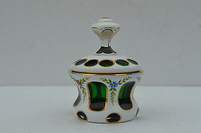 Beautiful Antique Bohemian White Cut To Green Glass Small Cover Vase Handpainted