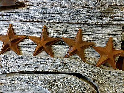"4 ANTIQUE-STYLE RUSTY RUSTIC CAST IRON STAR BARN DECOR 5.5"" vintage metalware"