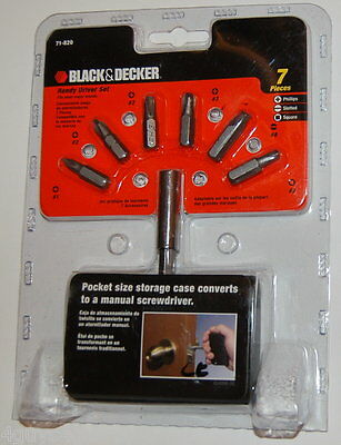 NEW BLACK /& DECKER 7 PIECE HANDY DRIVER BIT SET