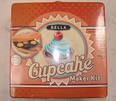 NEW BELLA CUPCAKE MAKER KIT w Pastry Bag Cooling Rack ++ ~ Bakes in 5-10 Minutes
