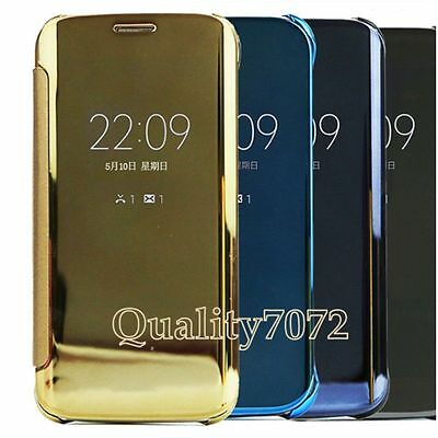 New Mirror Smart View Clear Flip Hard Case Cover Samsung Galaxy For S6 EDGE & +