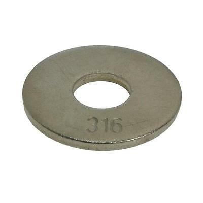 Qty 100 Mudguard Washer M5 (5mm) x 15mm x 1.2mm Marine Stainless 316 A4 Penny