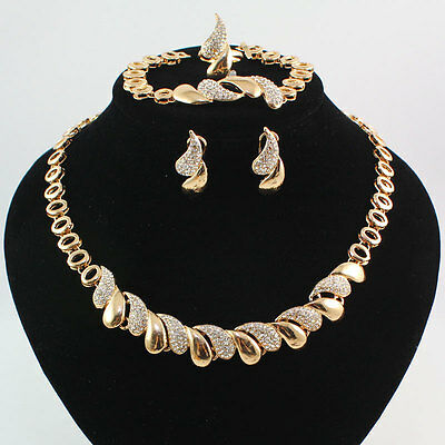 Women 18K Gold Plated Crystal Necklace Bracelet Earring Ring Wedding Party Set