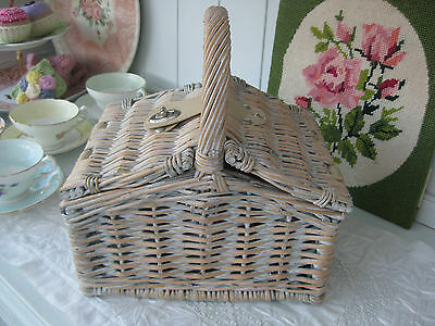Small/child's grey white washed WICKER willow lidded PICNIC BASKET/sewing basket