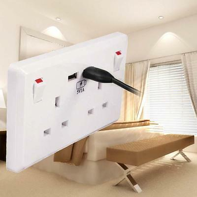 Double White Socket USB 13A 2Gang Electric Wall Plug Sockets With 2USB Outlet BG