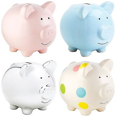 Pearhead Extra Large Ceramic Piggy Bank Money Box Pig Moneybox Four Colours NEW