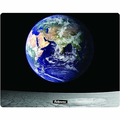 Fellowes Square Brite Mat Mouse Pad - Earth and Moon