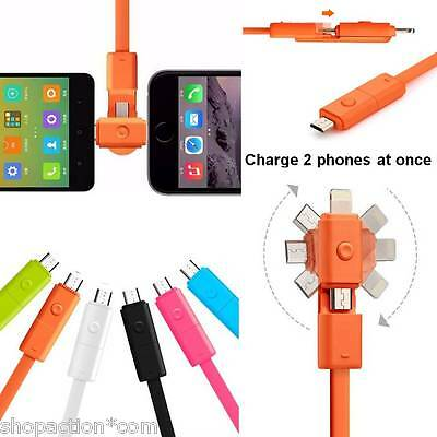 Double Micro USB 8pin 2 in 1 Sync Data Charger Cable for Android Samsung iPhone