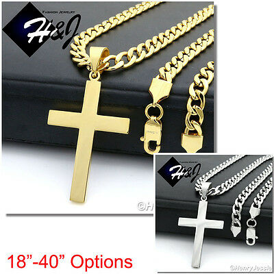 "18-40""MEN Stainless Steel 7mm Gold/Silver Cuban Curb Necklace Cross Pendant*P64"