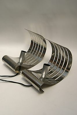 Couple Of Italian Modernism Steel Sconces Lamps 1970  New ! Auction From $ 49