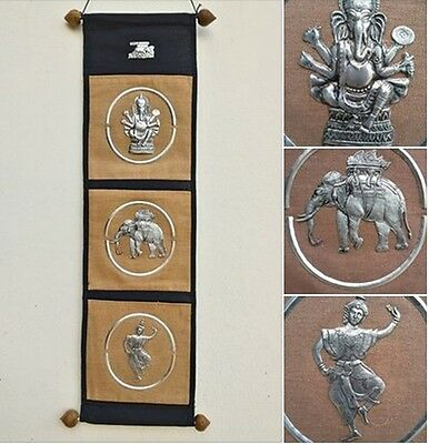 letter holder wall hanging 3 in 1 ganesh elephant ramayana fabric handicraft