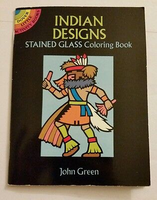 Vintage small North American Indian Designs Stained Glass Coloring Book